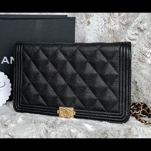 Chanel Black caviar boy woc / wallet on chain